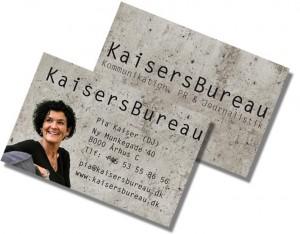 Visitkort til KaisersBureau - klik for at se dem i større format